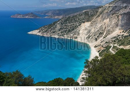 View of beautiful Myrtos bay road to beach, Kefalonia, Ionian islands, Greece