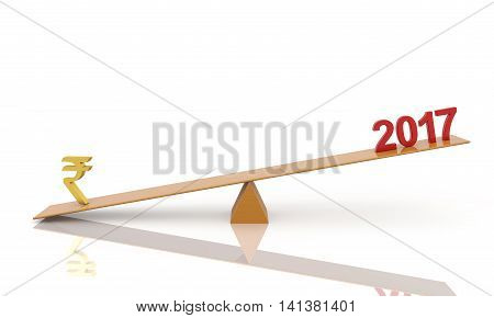 New Year 2017 with currency symbol 3d rendering image