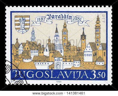 YUGOSLAVIA - CIRCA 1981 : Cancelled postage stamp printed by Yugoslavia, that shows Varazdin.
