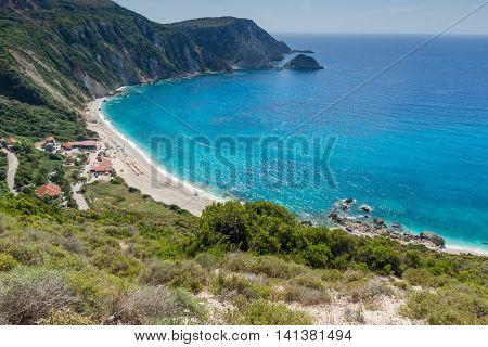 Panoramic view of Petani Beach, Kefalonia, Ionian Islands, Greece