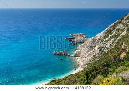 Rocks and blue waters near Petani Beach, Kefalonia, Ionian Islands, Greece