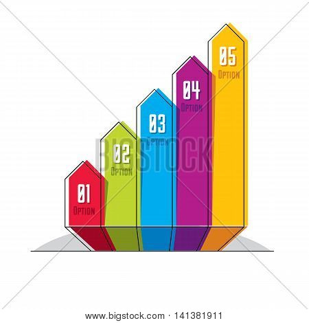 Infographics element vector layout of different color five banners composition of five ribbons
