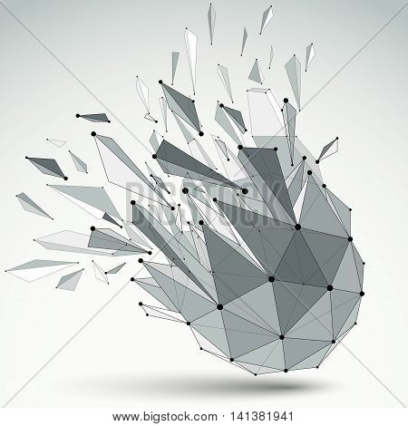 Abstract Vector Low Poly Wrecked Object With Black Lines And Dots Connected. 3D Origami Futuristic F