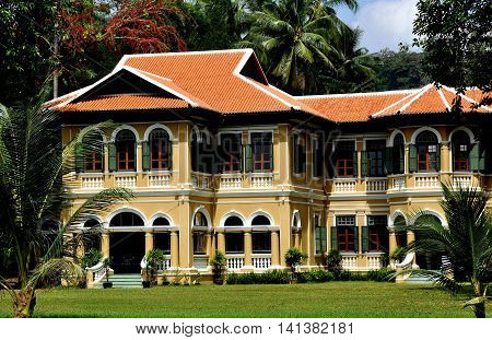 Phuket City Thailand - January 8 2011: Restored neo-colonial style mansion in the historic quarter on Krabi Road