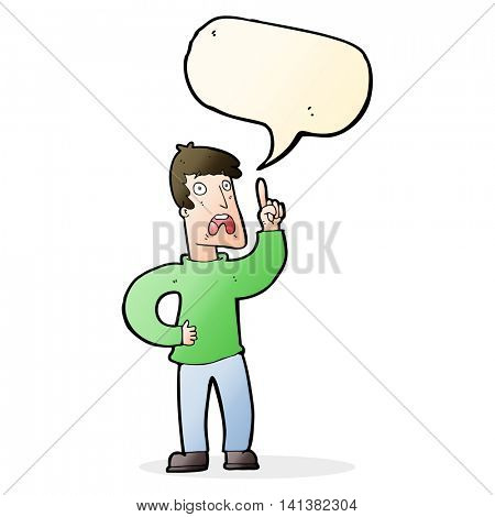 cartoon man with complaint with speech bubble