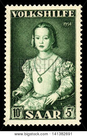Germany, Saarland - CIRCA 1954: a stamp printed in the Saar, Germany shows painting