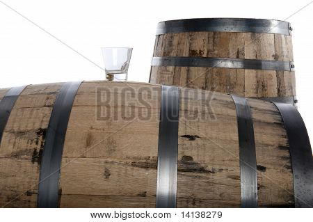 Whiskey Glass And Barrels
