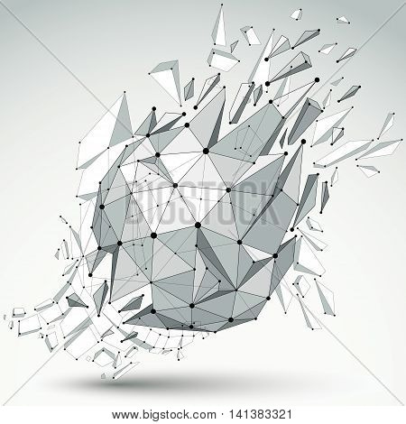 Abstract 3D Faceted Spherical Figure With Connected Black Lines And Dots. Vector Low Poly Shattered