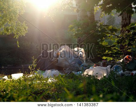 Mountain garbage in the forest. The concept of environmental pollution the environment the protection of forests