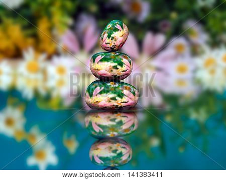 Transparent stones in water Zen pyramid. Stones of the volume inside the stones nature flowers. Concept - peace of mind inner peace harmony environment