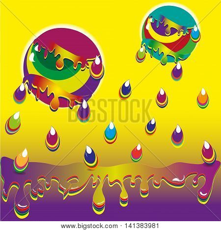 World paint vector illustration Drawing bright world of paint - a large ball flies, rain falls, it drops falling in a colorful puddle on a yellow background image