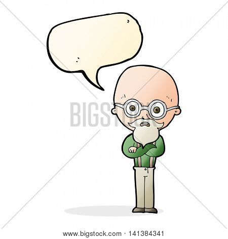 cartoon annoyed old man with speech bubble