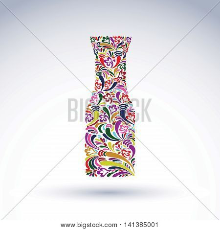 Bright flowery alcohol bottle pitcher. Stylized glassware symbol with abstract ethnic pattern.
