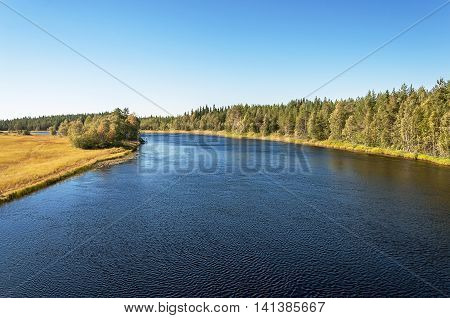 View of Onda River in Karelia Russia. Sunny summer day