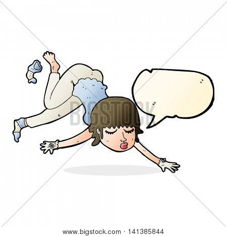 cartoon woman floating with speech bubble