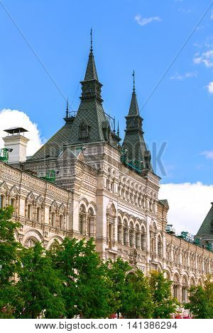 The historic facade of Gum Red square Russia Moscow.