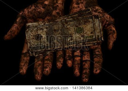 dirty money is not clean hands on a black background