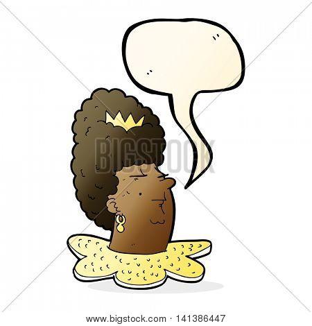 cartoon queen head with speech bubble