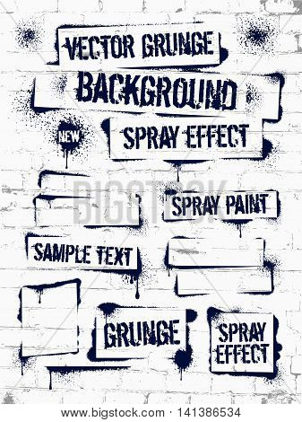Various Spray paint on brick wall. Frame with black ink blots. Spray grunge background.