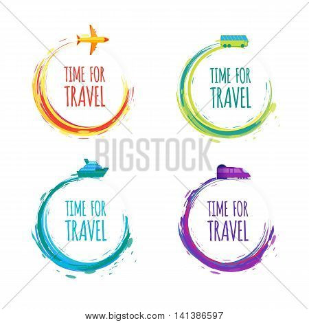 Time for Travel. Colorful vector watercolor Labels.