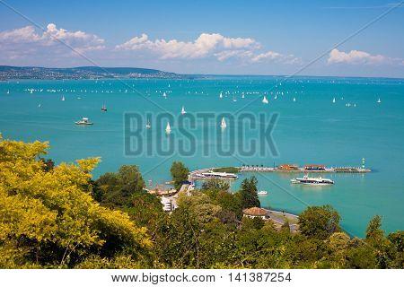 Lake Balaton with lots of sailboats from Tihany village in Hungary