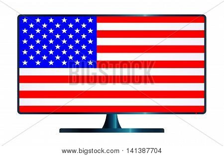 A TV or computer screen with the Stars and Stripes USA flag