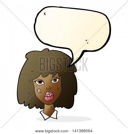 cartoon woman with bruised face with speech bubble