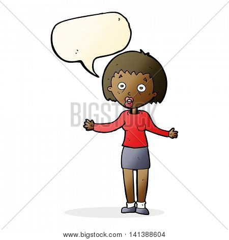 cartoon woman making excuses with speech bubble