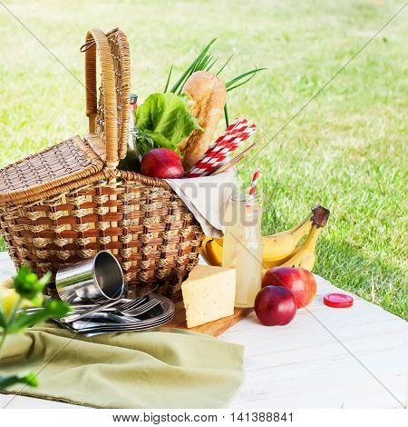 Picnic Wattled Basket Setting Food Bread Drink