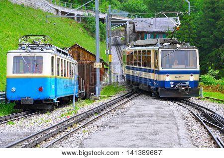 Caux Switzerland - June 15 2010: Passenger cogwheel train moves from Haut-de-Caux to Montreux.