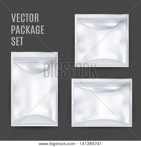 White Blank Foil Food Snack Sachet Bag Packaging For Coffee Salt Sugar Pepper Spices Sachet Sweets Chips Cookies. Vector Mock Up Illustration Isolated.