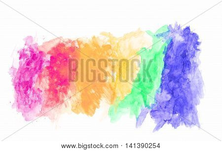 colorful of watercolor texture on white background