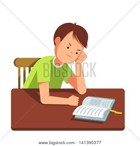 Kid reading a book at the table. Vector illustration of reading kid in the room. The boy sits at the table his head in his hand. The boy learns lessons