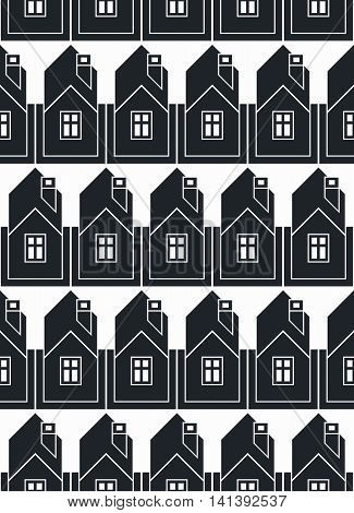 Real estate theme vector symmetric seamless pattern abstract houses depiction.