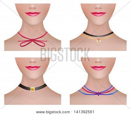 Model Neck Set with Modern Necklace Choker Accessories. Fashion Vector Illustration.