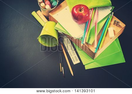 Apple Back To School Stationery Supplies Concept