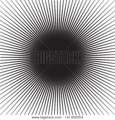 Stipple halftone sunburst. Dots round pattern. Effects from little points. Black circles on white. Vector Illustration in EPS8.