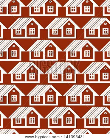 Real estate theme symmetric vector seamless pattern abstract houses depiction.