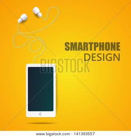 realistic vector smartphone and headphones illustration eps 10