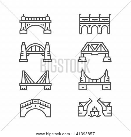 Set line icons of bridges isolated on white. Vector illustration