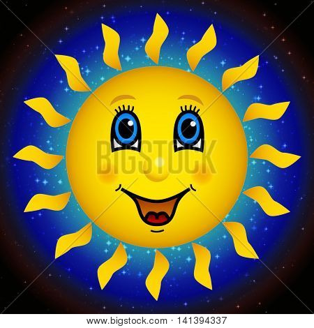 Happy smiling yellow sun face on star sky