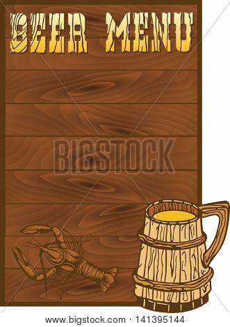 Beer menu template with crayfish and mug illustrations