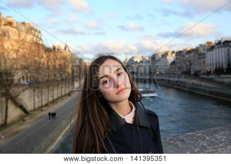 Portrait of beautiful girl in Paris France .