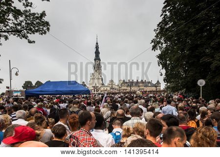 Czestochowa Poland - July 28 2016: Pilgrims waiting for the arrival of Pope Francis at Jasna Gora in Czestochowa