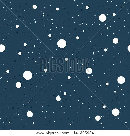 Seamless pattern with circles and dots of various sizes in a chaotic manner. Different diameter round shapes randomly placed on continuous background. Vector repeating texture.