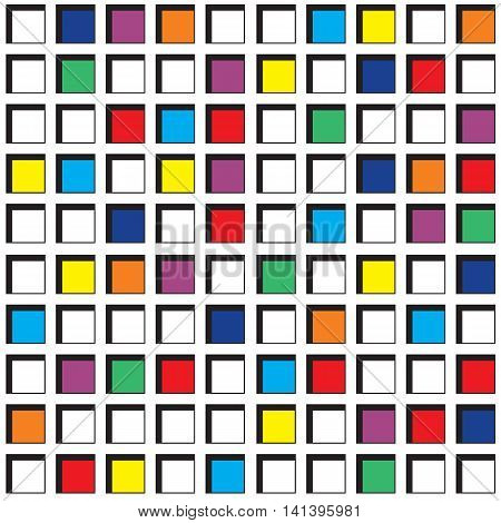 Colorful square cells seamless pattern. Continuous background of 3d cell structure. Repeating geometric texture with pseudo threedimensional squares of different colors. Vector illustration.