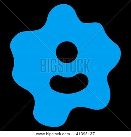 Ameba vector icon. Style is flat symbol, blue color, rounded angles, black background.
