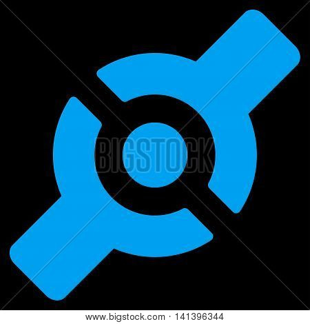 Artificial Joint vector icon. Style is flat symbol, blue color, rounded angles, black background.