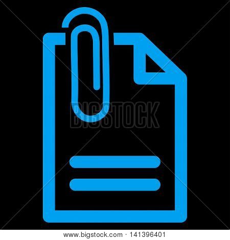Attach Document vector icon. Style is flat symbol, blue color, rounded angles, black background.