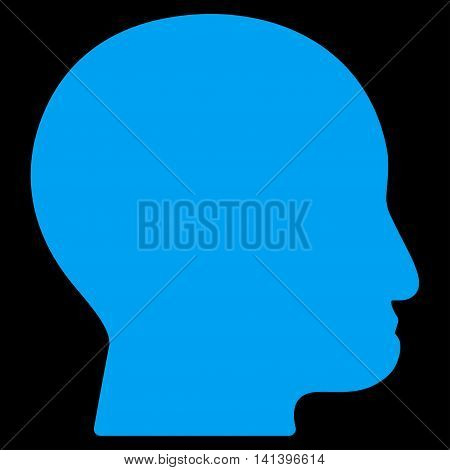 Bald Head vector icon. Style is flat symbol, blue color, rounded angles, black background.